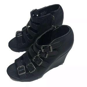 Vera Wang Buckles Strap Wedge Heels Black